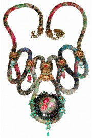 Michal Negrin Vintage Fabric Necklace