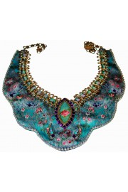 Michal Negrin Blue Printed Fabric Rose Cameo Necklace