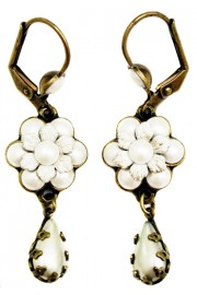 Michal Negrin Pearl White Flower Earrings