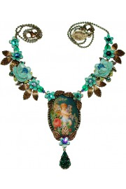 Michal Negrin Turquoise Cherub Cameo Necklace