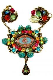 Michal Negrin Multicolor Medallion Cameo Necklace