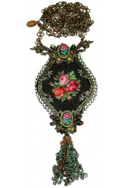 Michal Negrin Painted Rose Panel Necklace