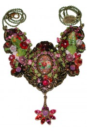 Michal Negrin Purple Red Rose Cameo Embellished Lace Necklace