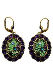 Michal Negrin Purple & Green Rose Relief Earrings