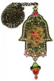 Michal Negrin Victorian Rose Hamsa Necklace