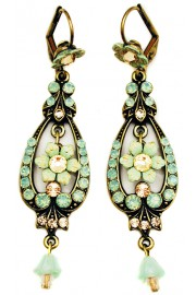 Michal Negrin Sea Green Peach Spade Earrings
