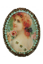 Michal Negrin Oval Cameo Brooch