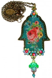 Michal Negrin Victorian Roses Large Hamsa Necklace