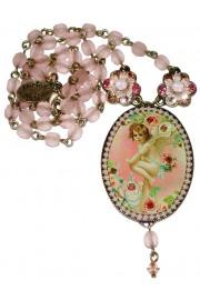 Michal Negrin Pink Cherub Cameo Necklace