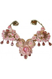 Michal Negrin Pink Lilac Rose Garden Necklace
