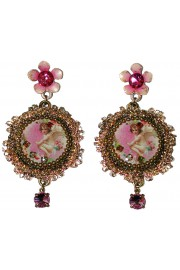 Michal Negrin Pink Cherub Lace Cameo Earrings