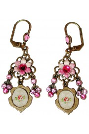 Michal Negrin Pink Cameo Earrings