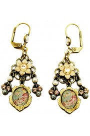 Michal Negrin Cream Cameo Earrings