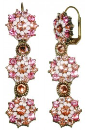 Michal Negrin Pink Peach Flower Earrings