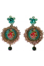 Michal Negrin Turquoise Lace Cameo Earrings
