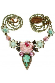 Michal Negrin Pink Green Rose Necklace