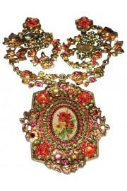Michal Negrin Orange Green Medallion Necklace