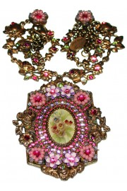 Michal Negrin Purple Pink Flowers Medallion Necklace