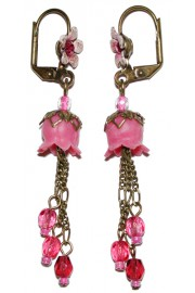 Michal Negrin Fuchsia Pink Lily Bells Earrings