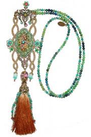 Michal Negrin Green urquoise Tassel Necklace