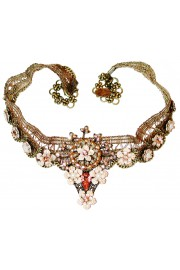 Michal Negrin Pearl Peach Lace Choker Necklace