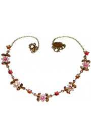 Michal Negrin Pink Peach Flowers Necklace