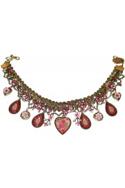 Michal Negrin Fuchsia Charms Lockets Necklace