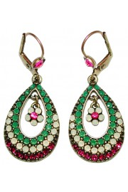 Michal Negrin Green Fuchsia Raindrop Earrings