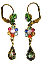 Michal Negrin Multicolor Rose Teardrop Earrings