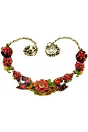 Michal Negrin Fuchsia Red New York Roses Necklace