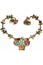 Michal Negrin Multicolor Flower Basket Necklace