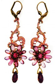 Michal Negrin Fuchsia Pink Flower Earrings