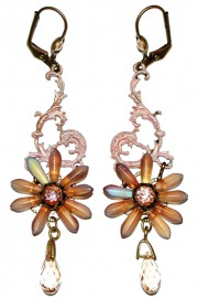 Michal Negrin Peach Flower Earrings