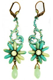 Michal Negrin Mint Green Flower Earrings