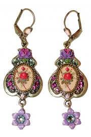 Michal Negrin Purple Roses Cameo Earrings