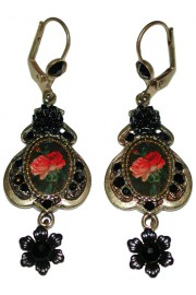 Michal Negrin Black Roses Cameo Earrings