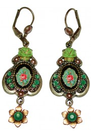 Michal Negrin Green Roses Cameo Earrings