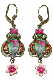 Michal Negrin Pink Multicolor Cameo Earrings