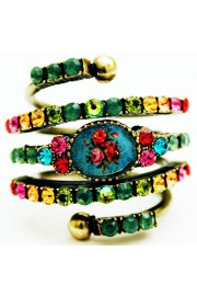 Michal Negrin Multicolor Roses Cameo Spiral Ring