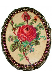 Michal Negrin Red Rose Purple Cameo Brooch