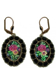 Michal Negrin Black Rose Relief Earrings