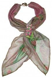 Michal Negrin Mauve Roses Scarf Necklace with Floral Brooch