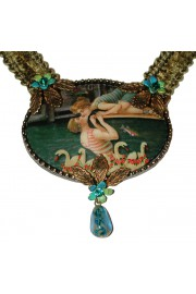 Michal Negrin Swimmers Kiss Cameo Khaki Velvet Necklace