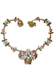 Michal Negrin Vintage Flowers Basket Necklace