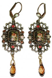 Michal Negrin Antique Roses Cameo Bronze Tone Earrings