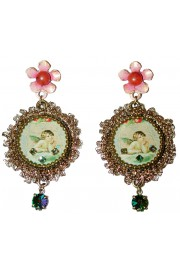 Michal Negrin Musing Cherub Lace Cameo Earrings