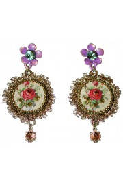 Michal Negrin Purple Red Rose Lace Cameo Earrings