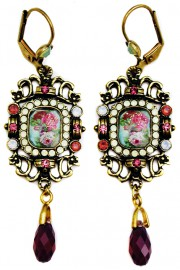 Michal Negrin Purple Icy Cream Victorian Roses Cameo Earrings