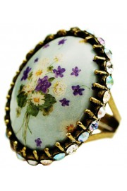 Michal Negrin Vintage Flowers Cameo Crystal Ring