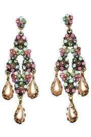 Michal Negrin Pastel Pearl Crystal Floral Earrings